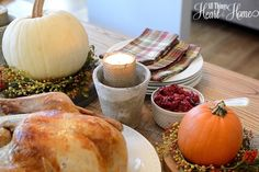 Setting a simple Thanksgiving Table is the way we do Thanksgiving in my family...gathering all the leftover fall elements for one last harvest celebration