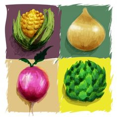 Hand painted vegetables design