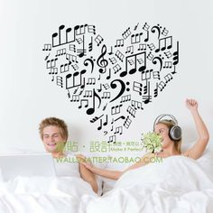 Love romantic decoration the notes tv background wall music wall stickers w10148  75*85cm US $16.56