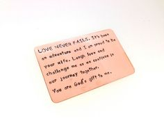 Wallet Insert Card - Hand Crafted Copper Wallet Insert Card - Hand Stamped Anniversary Gift - 8th anniversary, 7th anniversary