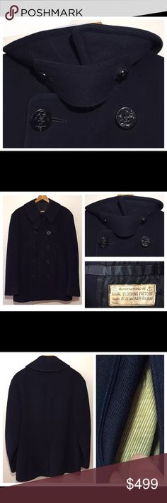 """Vintage WW2 US Navy Wool Blue Peacoat Size 34 VINTAGE 1940s ORIGINAL NAVAL CLOTHING FACTORY WW2 US NAVY 10-BUTTON CORDUROY POCKETS BLUE WOOL PEACOAT SIZE 34  MEASUREMENTS: ACROSS SHOULDER: 19"""" ACROSS PIT TO PIT: 19.5"""" ACROSS WAIST: 19"""" BACK LENGTH: 30.5"""" SLEEVE LENGTH: 24.5""""  Please view last photo for wear on the inside collar and the inside sleeve lining. The outer part of this jacket is beautiful with no damage.  Thanks so much for your support. Good luck. Naval Clothing Factory Jackets…"""