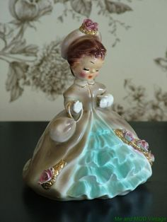 Love the colour combination on this one - VINTAGE JOSEF ORIGINALS FIGURINE YOUNG WOMEN GABRIELLE