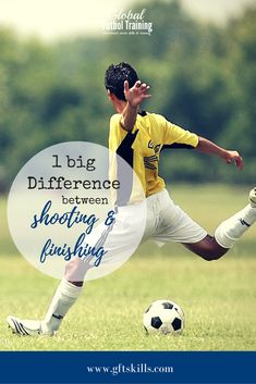 Shooting and Finishing are two technical terms that are often lumped together in the soccer world, but it& important to know the difference. Typically, soccer players become better at shooting before finishing since shooting is striking a long distance w Soccer Drills For Kids, Soccer Pro, Soccer Practice, Soccer Skills, Soccer Coaching, Soccer Tips, Soccer Players, Soccer Stuff, Nike Soccer