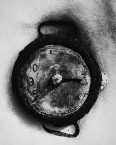 The Hiroshima explosion, recorded at 8:15am, August 6, 1945, is seen on the remains of a wristwatch found in the ruins in this 1945 United Nations photo. The shadow of the small hand on the eight was burned in from the blast, making it appear to be the big hand. (AP Photo/United Nations)