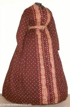 Delightful c1865 Silk Challis House Dress.