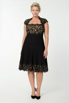 Pintuck Jersey and Lace Cap Sleeve Dress in Black / Nude - Plus Size Evening Shop | Tadashi Shoji