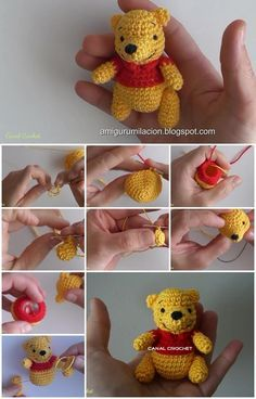 crochet Heres the link to the tutorial >> How to Make Winnie Pooh Amigurumi: Mingky Tinky Tiger + the Biddle Diddle Dee: Photo Looking for free crochet patterns of toys or stuffed animals and amigurumi? These free amigurumi crochet patterns are so much fu Chat Crochet, Crochet Mignon, Crochet Bear, Crochet Patterns Amigurumi, Amigurumi Doll, Crochet Animals, Crochet Dolls, Knitting Patterns, Bear Patterns