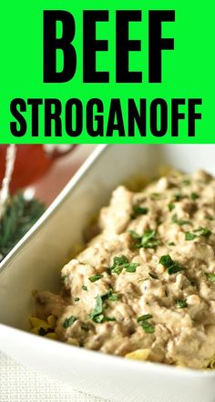 This recipe is the perfect quick and easy beef stroganoff recipe. It's a kid friendly casserole from the 60s that's perfect for weeknights or entertaining a crowd.