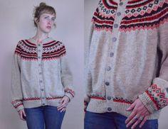 Vintage 60's Grey,Black, & Red Norwegian Wool Knit Cardigan Sweater