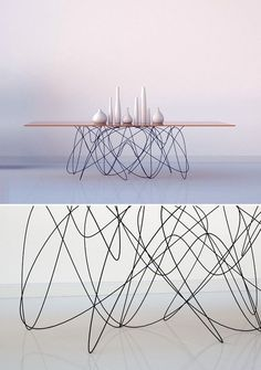 Amazing wire and wood table design - light as a feather #furniture #design Can you imagine this wire wooden table in your home? what a statement piece!