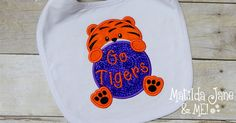 Clemson Tigers Girl or Boy Appliqued BabyBib, Appliqued Bib, Go Tigers Baby Bib, Baby Coming Home Gift, Shower Gift, Babies Accessories by ThePerfectWallet on Etsy