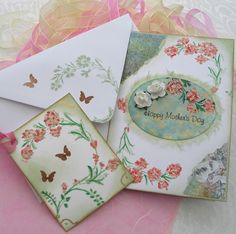 Mothers Day Card and Gift Tag  - Painted Peach Flowers