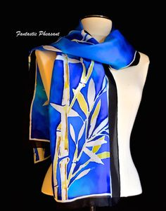 Silk scarf hand painted bamboo in white and by FantasticPheasant
