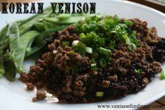 Korean Venison.. really delicious!! Ground venison, ginger, garlic, soy sauce, honey (will use stevia), green onions, salt and pepper. From venisonfordinner.com. A WINNER!!!