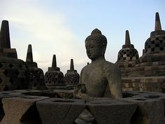 In the 19th century, Dutch occupiers of Indonesia found a massive ancient ruin deep in the jungles of Java. What they discovered was the complex of Borobudur, a gigantic structure built with nearly 2 million cubic feet (55,000 m³) of stones. The temple has nearly 2,700 relief panels and 504 Buddha statues.