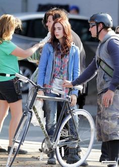 mortal instruments Lily collins on set as Clary fray
