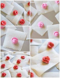 make royal icing toothpick roses. a step-by-step tutorial for making royal icing toothpick roses for decorated cookies, cakes, and cupcakes.a step-by-step tutorial for making royal icing toothpick roses for decorated cookies, cakes, and cupcakes. Frosting Flowers, Royal Icing Flowers, Icing Frosting, Cookie Icing, Royal Icing Cookies, Fondant Flowers, Sweet Cookies, Iced Cookies, Sugar Cookies