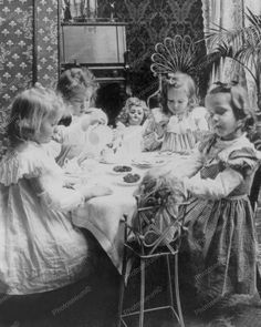 Tea Party Children At Play With Toy Dolls 8x10 Reprint Of Old Photo