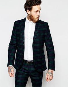 Heart   Dagger Tartan Suit Jacket in Super Skinny Fit Super Magro 1a5b47f55cd