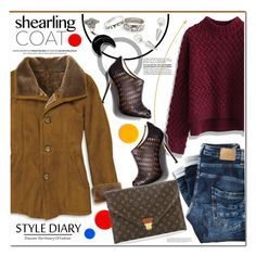 """Sweat Shearling Coat"" by rosie305 ❤ liked on Polyvore featuring Chicwish, Louis Vuitton, shearlingcoat and rosie305"