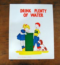 School Poster Health Poster Drink Plenty of by VintagePaperology, $10.00