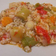 Πρασόρυζο Greek Recipes, My Recipes, Recipe Collection, Pasta Dishes, Pasta Salad, Poultry, Shrimp, Curry, Meat