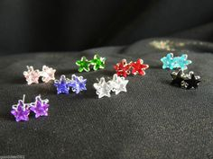 sparkly 6mm crystal star 925 silver stud earrings+GIFT BAG