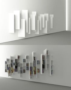 Já tinha visto em Milão em 2013 na Boffi. CTline bookshelf designed by Victor Vasilev. From a particular angle, this construction looks nothing like a bookshelf, but rather a minimalistic art installation. - My Interior Design Ideas Creative Bookshelves, Bookshelf Design, Minimalist Bookshelves, Wall Bookshelves, Bookcases, Modern Bookshelf, Floating Bookshelves, Bookshelf Ideas, Modern Shelving