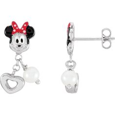 Sterling Silver Minnie Mouse with Enamel & Freshwater Cultured Pearl Earrings. 650815 / Sterling Silver / Earrings / Set / None / Round / 04.00 Mm / Pearl / Polished / Disney Minnie Mouse&Prl Er W/B. Disney Youth Minnie Mouse & Pearl Earrings. Gemstone Fashion. Sterling Silver. Gemstone Earrings.