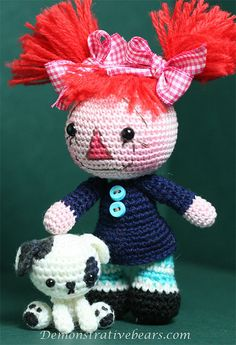 Demonstrative Bears Amigurumi Raggedy Ann Dolly and her new Puppy by cindysickler, via Flickr