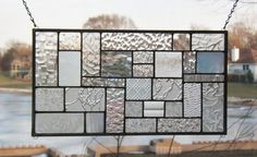 Clear stained glass panel window geometric abstract stained glass window panel modern window hanging cg1 via Etsy