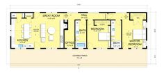 Ranch Style House Plan - 2 Beds 2 Baths 1480 Sq/Ft Plan #888-4 Floor Plan - Main Floor Plan - Houseplans.com