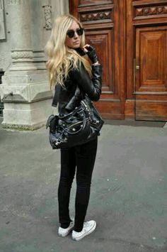 All Black with White Converse