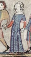 1338-44, French.  From The Romance of Alexander; fol 172v  Blue patterned cotehardie with a red underdress. White tippets and fichets