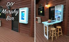 Learn how to build a DIY Murphy bar for your patio or indoor area. This space saving furniture folds into a cabinet when not in use. Plans are on the site!