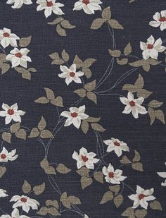 Malleny Linen Fabric Dark blue linen fabric with sprawling floral design in white, and iridescent gold with shocks of orange red.
