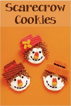 How to Make Scarecrow Cookies! These would be cute for a 'non-Halloween' Halloween party @ my daughter's school Thanksgiving Treats, Fall Treats, Holiday Treats, Holiday Fun, Fall Snacks, Thanksgiving Sides, Thanksgiving Pictures, Thanksgiving Prayer, Thanksgiving Outfit