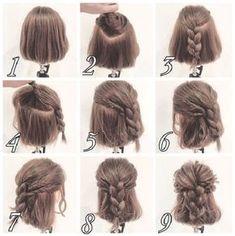 Messy Half up Braid Coiffure for Quick Hair Medium Hair Styles, Curly Hair Styles, Natural Hair Styles, Short Hair Styles Easy, Hair Arrange, Braids For Short Hair, Braid Hair, Short Hair Braids Tutorial, Hair Day