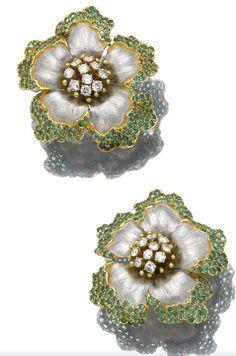 Buccellati Emerald and Diamond Ear Clips