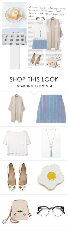 """""""d r e a m"""" by emyemoemu ❤ liked on Polyvore featuring ASOS, Violeta by Mango, T By Alexander Wang, MANGO, Charlotte Olympia, Georgia Perry, Patricia Chang, Casetify, skirt and stripes"""