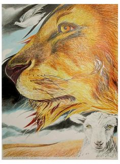 Lion And Lamb And Dove Mixed Media  - Lion And Lamb And Dove Fine Art Print