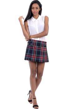 Tartan Mini Skirt, Women's Fashion, Fashion Outfits, Skater Skirt, Mini Skirts, Buttons, Detail, Red, Clothes