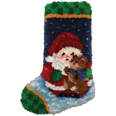 Latch Hook Kit Roly Poly Santa Stocking 12inX17in
