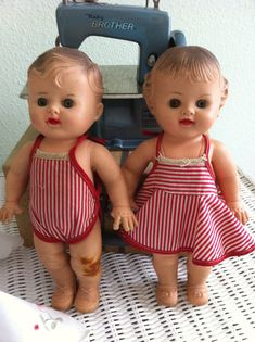 Twins by Sun Rubber Toys -1950s.These soft rubber dolls were made by the Sun Rubber Company, Barberton, O. USA.