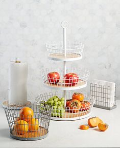 We love stylish organization for every room of the house! These wire baskets and accessories bring a cohesive look to your kitchen while also offering plenty of storage. Find them in the Martha Stewart Collection created for Macy's. Summer Kitchen, New Kitchen, Kitchen Decor, Kitchen Dining, Dining Room, Modern Coasters, Modern Placemats, Kitchen Countertop Organization, Kitchen Countertops