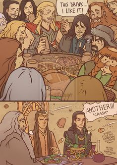 Thor-The Hobbit: a bunch of unexpected guests by Kibbitzer>>>This fan art, I like it...ANOTHER!!
