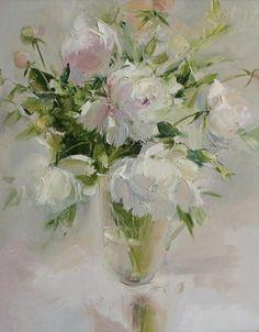 Russian Art, Beautiful Paintings, Art Tutorials, Flower Art, Glass Vase, Nature, Inspiration, Painted Flowers, Flower Paintings