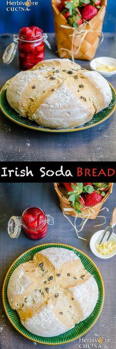 Herbivore Cucina: Irish Soda Bread for #BreadBakers..A yeast free bread perfect for St. Patrick's Day. Studded with raisins, this loaf gets its crusty coat from buttermilk and tastes superb! #IrishSodaBread #StPatricksDay #IrelandBreakfast #YeastFreeBreads #BakingSoda #IrishTraditionalRecipes #EgglessBaking #RaisinAndCurrantBread #GreenDishes #ShamrockRecipes