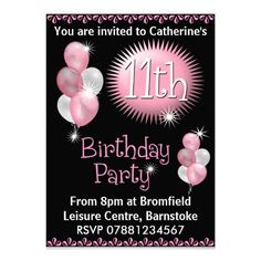 11th Birthday Party Invitation