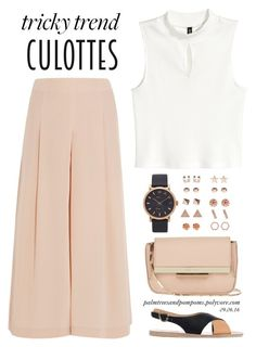 Tricky Trend: Chic Culottes by palmtreesandpompoms on Polyvore featuring polyvore fashion style TIBI Ancient Greek Sandals Eddie Borgo Marc Jacobs Accessorize clothing TrickyTrend HM tibi culottes